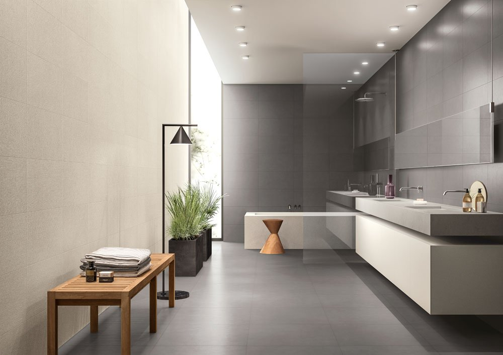 Piastrelle effetto tessuto o tridimensionale per un bagno decor