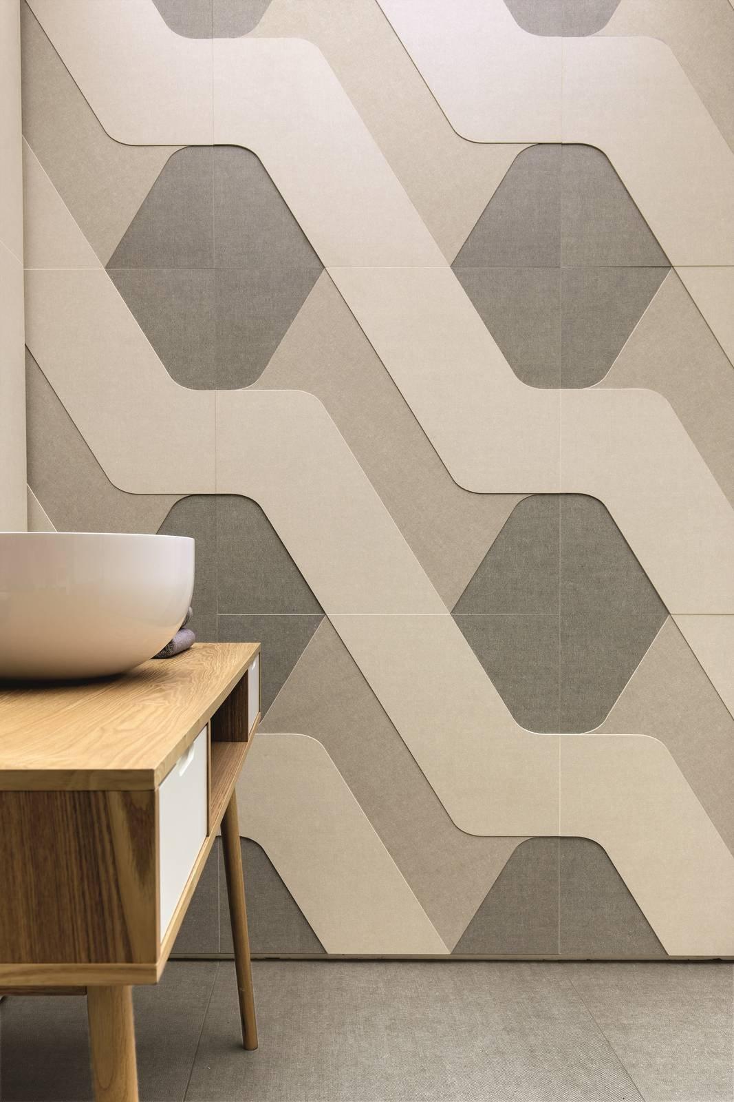 Piastrelle effetto tessuto o tridimensionale per un bagno for Mattonelle design