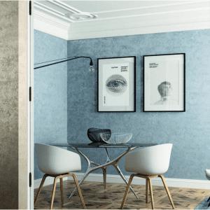 Parete blu chiaro, tinteggiata con vernice di Colorificio San Marco. www.san-marco.com