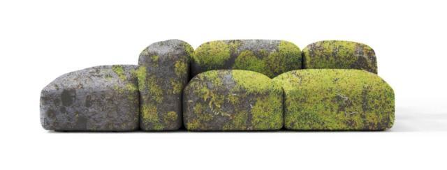 Mimesi di Amura, design Manuel Gargano,  è il nuovo divano rivestito in velluto decorato con motivi che si ispirano alla natura: le foglie in autunno, il muschio su una roccia. www.amuralab.com