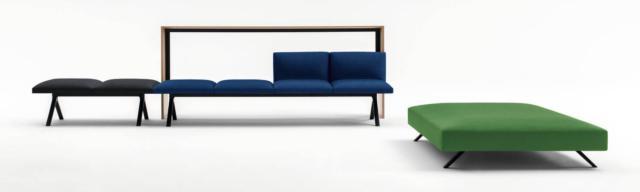 Kiik di Arper, design Ichiro Iwasaki, è il sistema modulare formato da divano, pouf, panca e piano di lavoro da combinare a piacere: hanno tutti un design essenziale. www.arper.com
