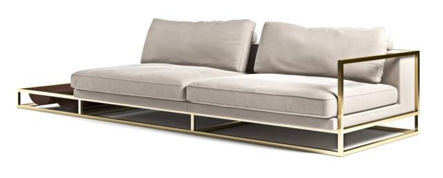 New Sofa di Aston Martin by Formitalia Luxury Group è il divano dalla forma squadrata e compatta impreziosito dalla struttura in metallo color oro; è rivestito in pelle trattata a mano all'anilina color champagne. É dotato di un solo bracciolo, dall'altro lato c' è un tavolino in pelle. Misura L 250 x P 95 x H 75 cm. www.formitalia.it