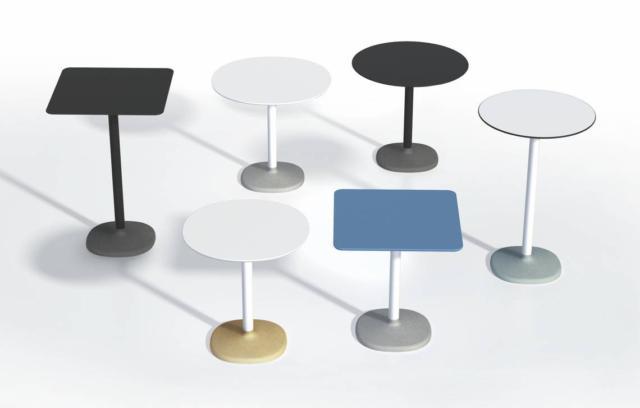 Fonda di B-Line, design Maddalena Casadei, è il tavolo reso speciale dalla base soft round in cemento colorato in pasta in cui si innesta la struttura cilindrica in metallo; il piano è disponibile in mdf o laminato. É disponibile in due altezze diverse e può essere utilizzato anche all'esterno. www.b-line.it