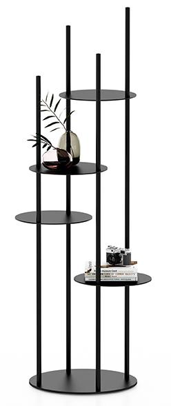 Circles di Calligaris, design Busetti Garuti Redaelli, è il totem-libreria con un design grafico che può essere collocato ovunque. É realizzato in metallo nella finitura opaca goffrata nero e ha quattro ripiani circolari. Misura ø 42 x H 146 cm. www.calligaris.it