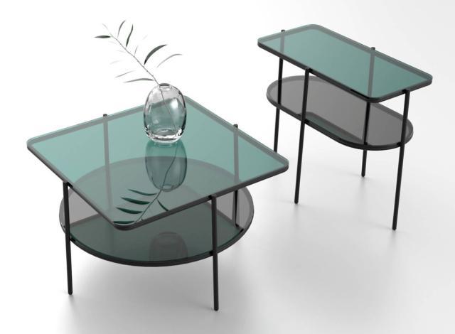 Puro di Calligaris, design E-ggs Studio, è il tavolino con il doppio piano in vetro grigio, verde o blu sorretto dalle sottili gambe in metallo. Misura L 30 x P 65 x H 50 cm e L 65 x P 65 x H 38 cm. www.calligaris.it