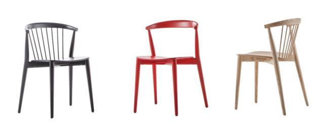 Newood di Cappellini, design Brogliato Traverso, è la sedia interamente in legno che reinterpreta i modelli in stile Windsor: è disponibile nei classici colori bianco e nero e nelle varianti blu Shanghai e rosso ciliegia. Lo schienale è in massello curvato ed è è impilabile. www.cappellini.it