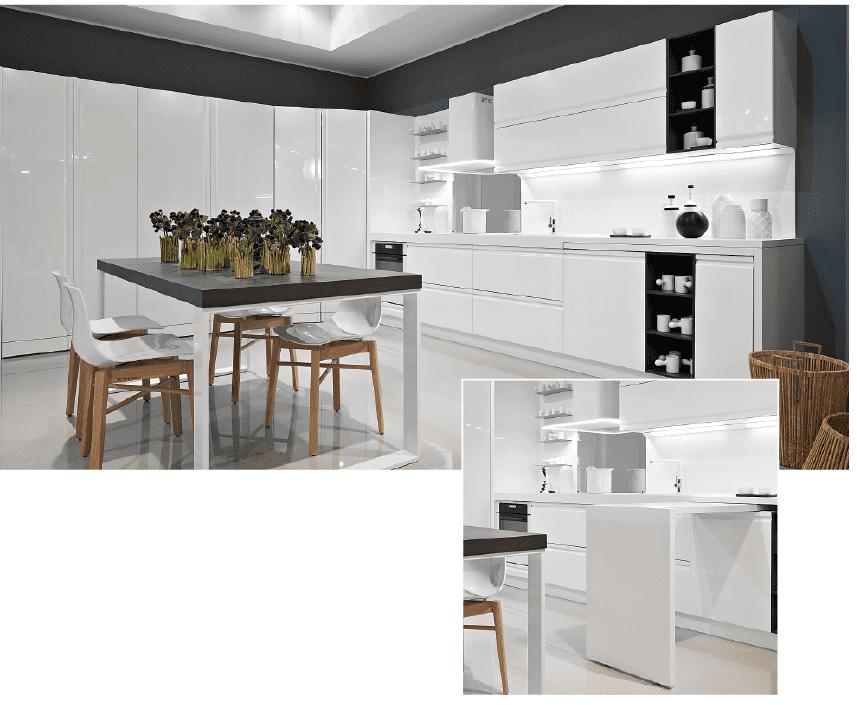 Cucine Moderne Con Tavolo A Scomparsa.Cucina A Vista Il Tavolo Come Piano In Piu Su Ruote Estraibile