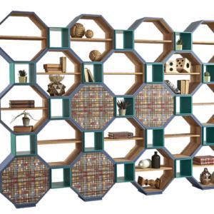 Art. DB005497 di Dialma Brown è la libreria componibile interamente realizzata in legno vecchio riciclato; gli interni e i ripiani sono nella finitura naturale, mentre l'esterno è laccato e cerato a pennello disponibile in sette colori. Misura L 315 x P 32 x H 233 cm. www.dialmabrown.it