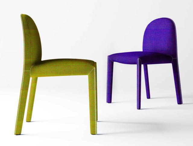 Soirée di Driade, design Gabriele e Oscar Buratti, è la sedia morbida e tessile: è interamente imbottita e rivestita in tessuto colorato. La curva dello schienale la rende confortevole. www.driade.com