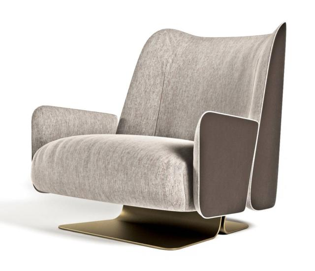 Sunrise armchair della linea Glamour Collection di Formitalia Luxury Group, design Dainelli Studio, è la poltrona con la struttura esterna rivestita in pelle e l'imbottitura interna disponibile con rivestimento in tessuto o in nappa. La base è in metallo curvato nella finitura oro champagne satinato. Misura L 72 x P 78 x H 73 cm. www.formitalia.it