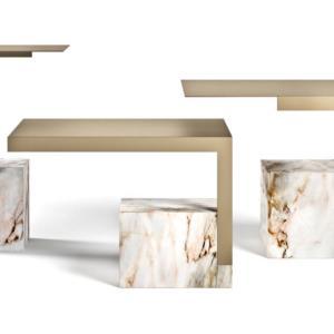 Tag coffe table della linea Glamour Collection di Formitalia Luxury Group, design Dainelli Studio, è il tavolino reso originale dalla forma insolito: la base è in marmo bianco  su cui si inserisce il supporto in metallo nella finitura oro champagne satinato. Misura L 50 x P 50 x H 44 cm e L 30 x P 30 x H 50 cm.  www.formitalia.it