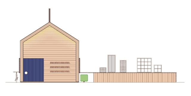 Casetta realizzata con struttura in legno di abete finitura naturale. L'interno è caratterizzato dalla presenza di tutte le superfici visibili rivestite con elementi modulari del catalogo IKEA, che in alcuni casi fuoriescono dal piano di riferimento per diventare tridimensionali.
