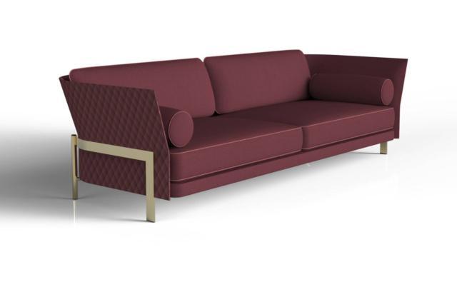 Di Opera Contemporary è il divano sofisticato che ha l'esterno dello schienale elegantemente trapuntato con una trama a rombi. Le proporzioni sobrie e eleganti sono sottolineate dai dettagli in metllo dorato.  www.operacontemporary.com