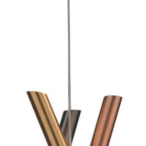 Shangai di Riflessi è la sospensione formata da tre elementi tubolari in metallo impreziositi dalle finiture ororosa, oro satinato e grafite. I tre elementi si incrociano dando vita ad una scultura luminosa. www.riflessi.it