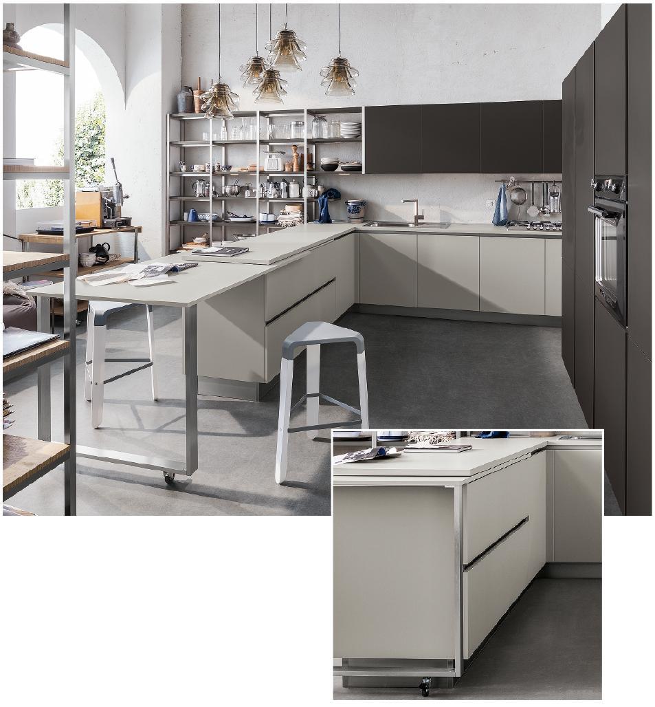 Misure Standard Top Cucina cucina a vista: il tavolo come piano in più. su ruote