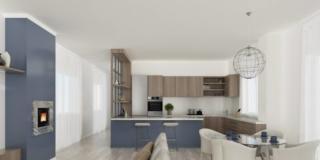 Via il corridoio… cucina e soggiorno diventano un grande open space