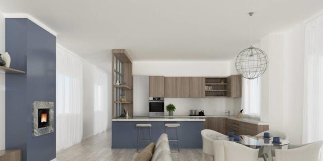 Via il corridoio... cucina e soggiorno diventano un grande ...