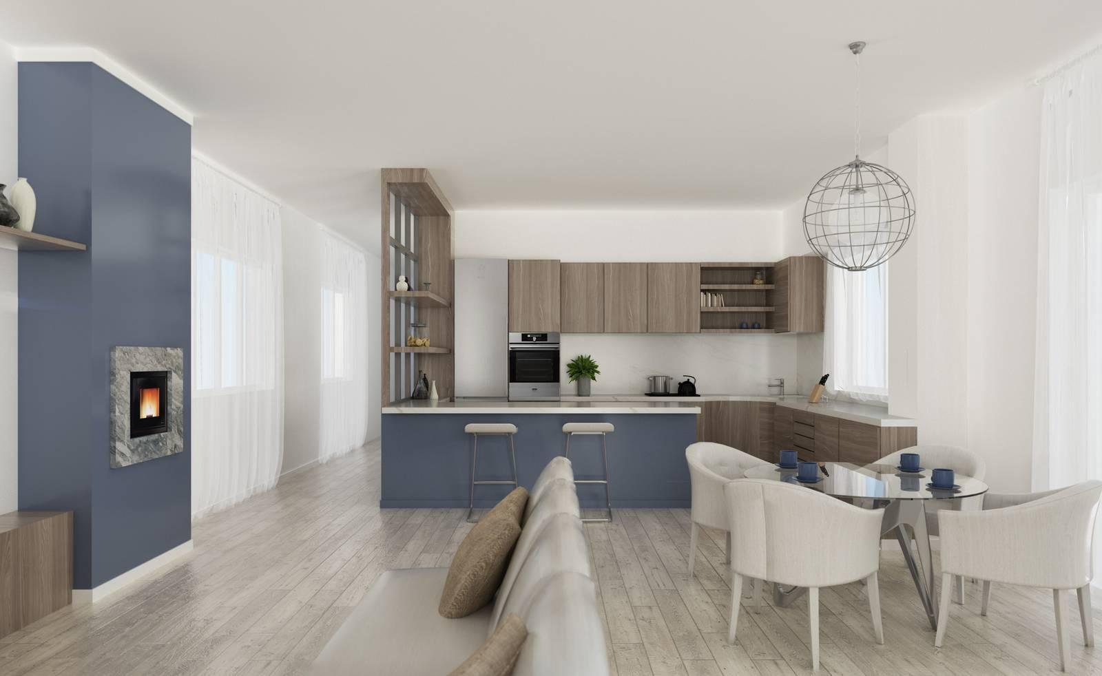 Lo Space Senza Pareti via il corridoio cucina e soggiorno diventano un grande