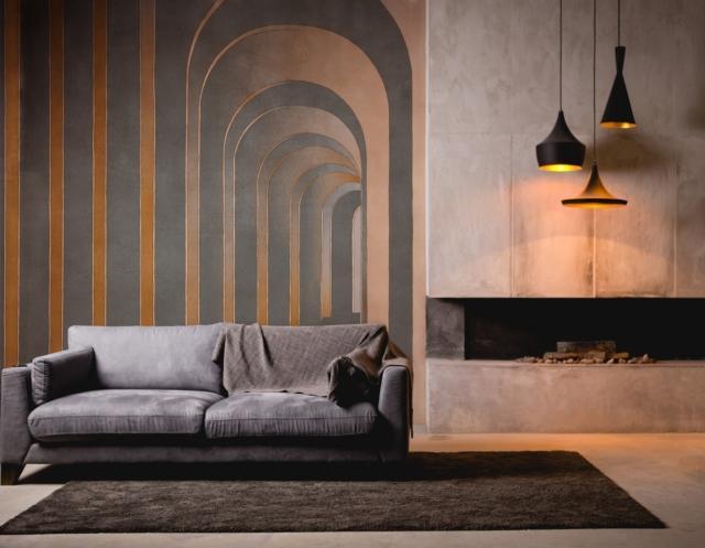 Soggetto FUTURA: con Futura le pareti si sottraggono alla bidimensionalità. Lo sfondo si dilata in un movimento di infinite forme che si rincorrono.
