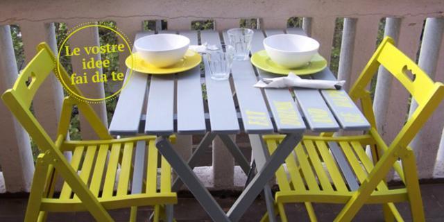 Un tocco di colore per dipingere tavolo e sedie in legno