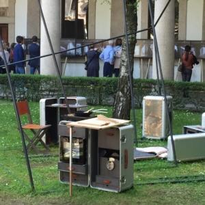 """La Cookstation di Marc Sadler all'interno dell'Installazione """"Ricerca del sé"""" di Giuliano Cataldo Giancotti in occasione della Design Week di Milano."""
