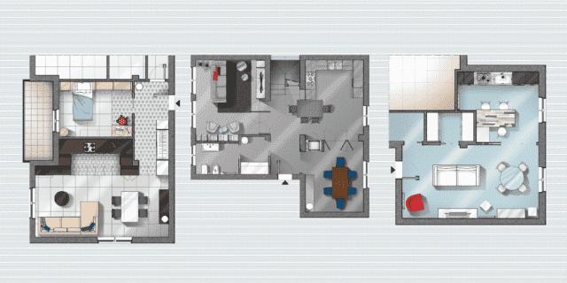 Progetti: 3 modi di vivere la cucina. Open space, parzialmente ...