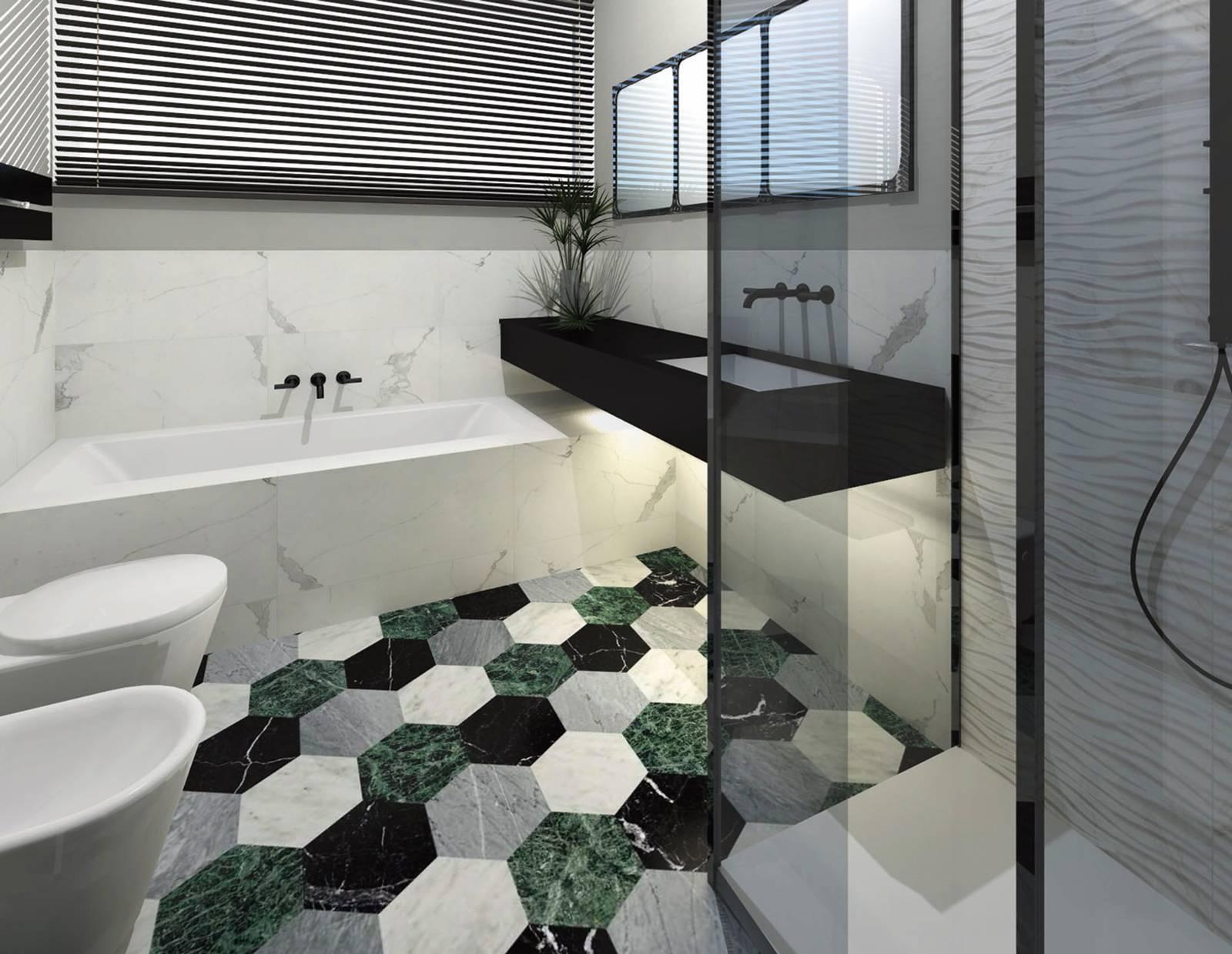 Nuovo bagno con decorazioni effetto marmo ed ampio bxo in