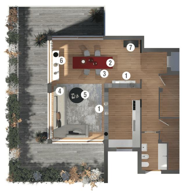 Progetto in 3D: separare cucina e soggiorno con la libreria su ...