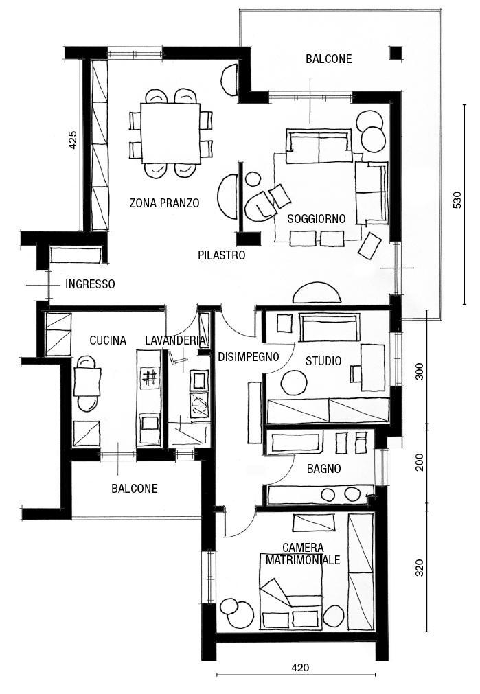 89 mq arredati con pezzi iconici del design cose di casa for Progetto di una casa