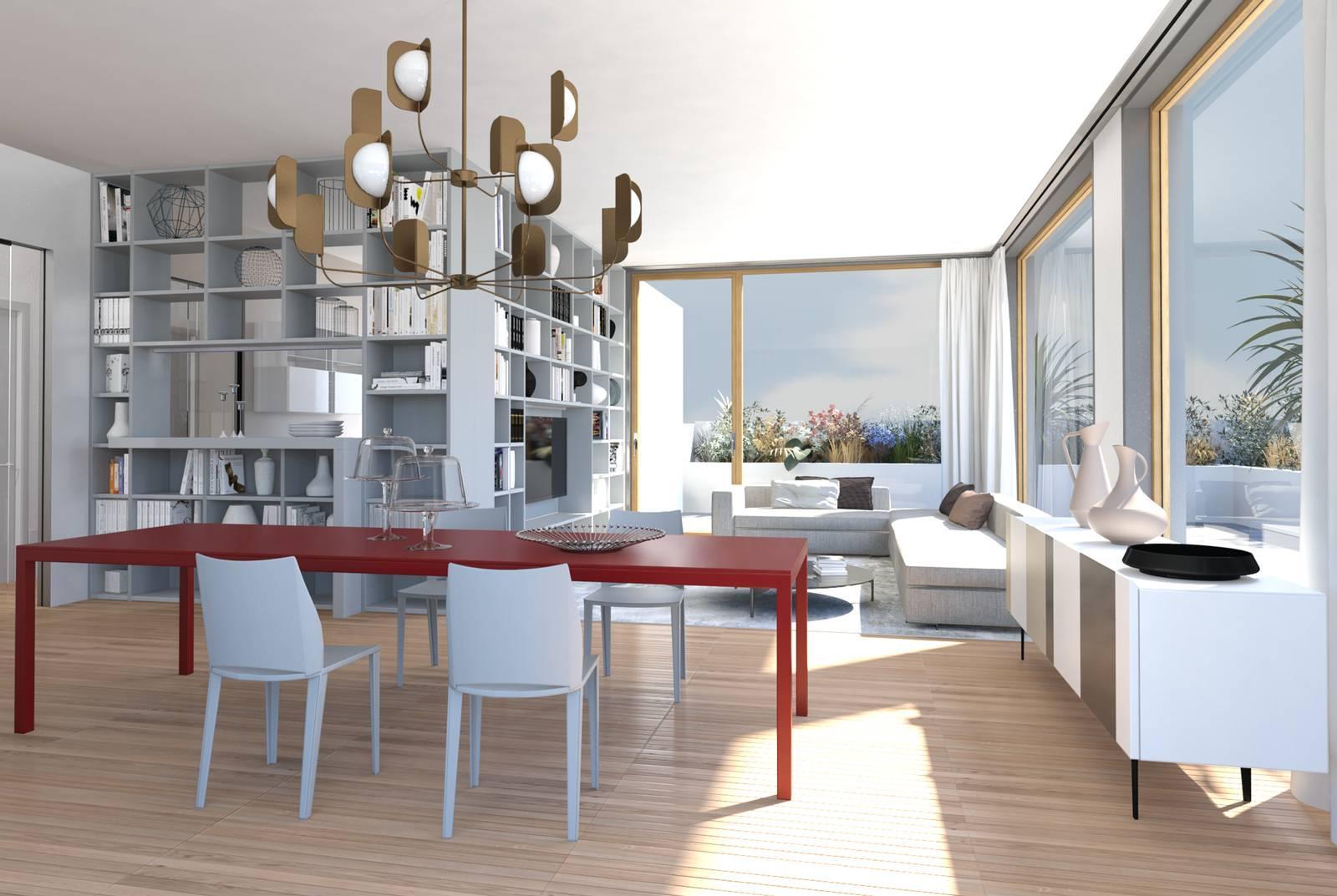 Divano E Tavolo Insieme progetto in 3d: separare cucina e soggiorno con la libreria