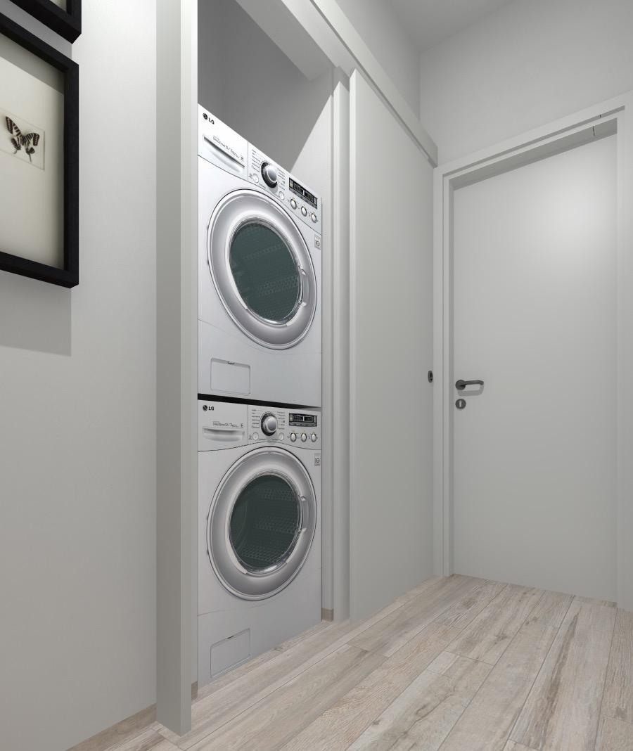 Mobile Per Lavatrice Moderno progetto in 3d: spostando la lavatrice (e aggiungendo l