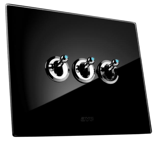 AVE Placca New Style 44 in vetro nero con tre comandi a levetta illuminabili