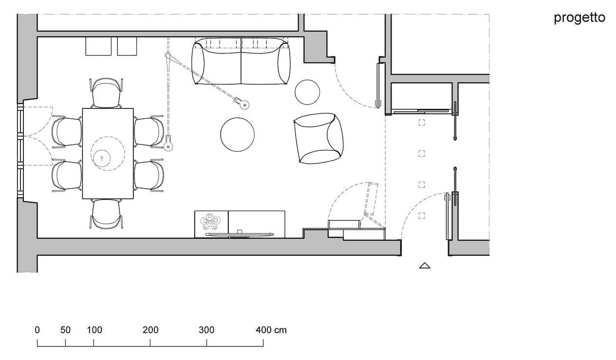 Progetto in 3D per arredare il soggiorno rettangolare di dimensioni ...
