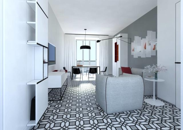 Progetto in 3d per arredare il soggiorno rettangolare di for Arredare 3d