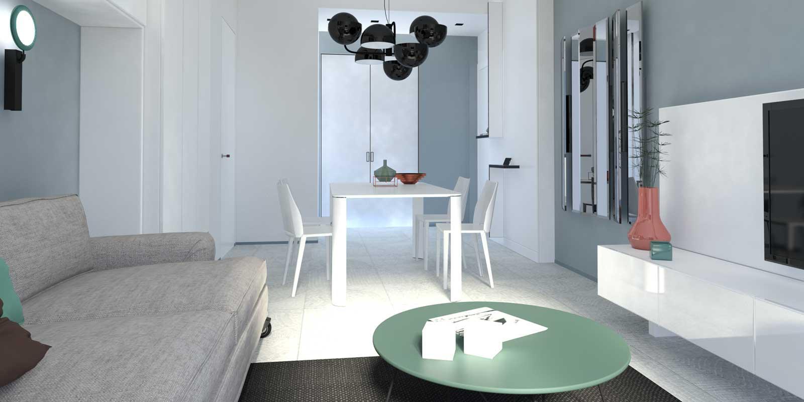 Progetto in 3d per arredare il soggiorno integrando i for Arredare 3d
