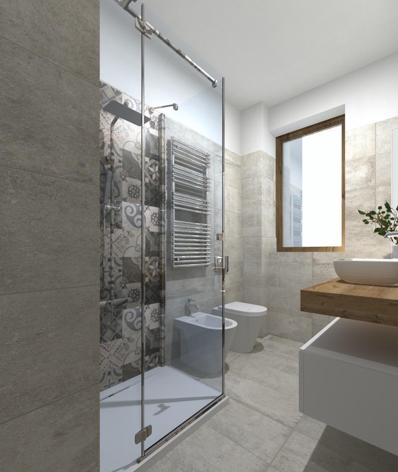 Progetto in 3d spostando la lavatrice e aggiungendo l 39 asciugatrice il bagno ci guadagna - Bagno con doccia ...