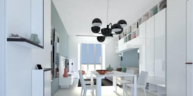 Progetto in 3D per arredare il soggiorno, integrando i pilastri e rendendoli invisibili