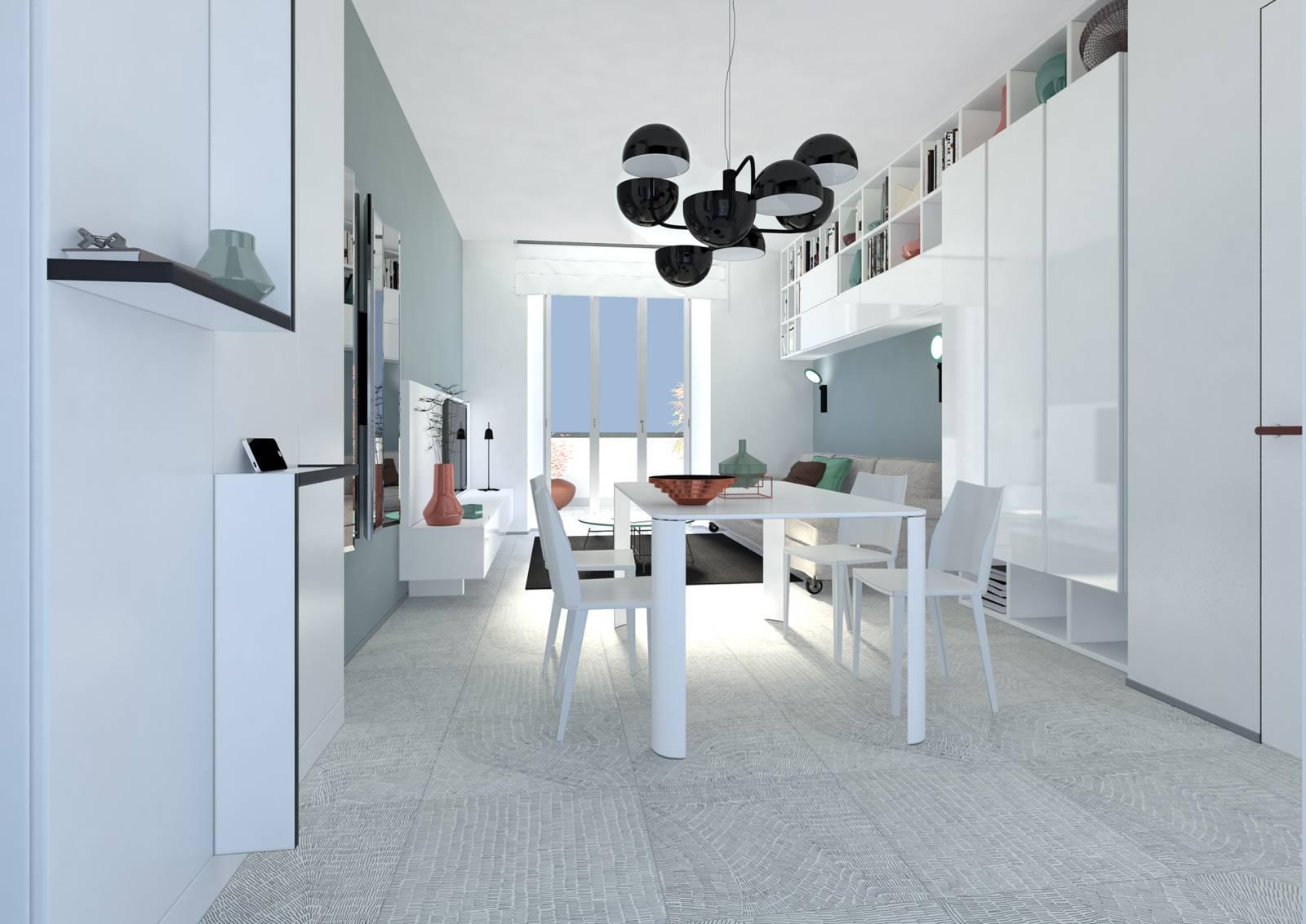Progetto in 3d per arredare il soggiorno integrando i for Arredare lo studio in casa