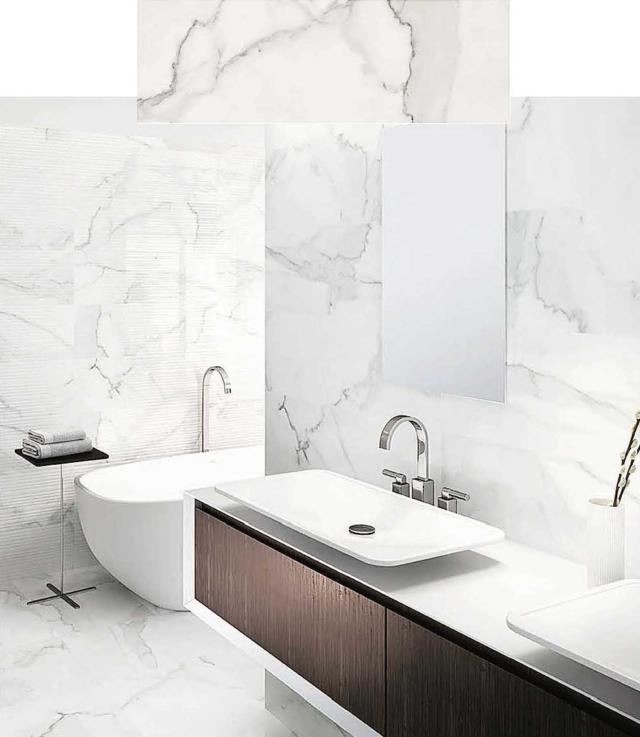 Bagno effetto marmo con i nuovi rivestimenti tante for Vernice piastrelle bagno leroy merlin