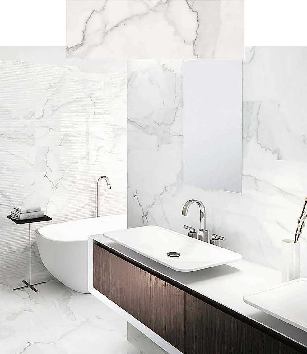 Bagno effetto marmo con i nuovi rivestimenti tante - Rivestimento bagno effetto marmo ...