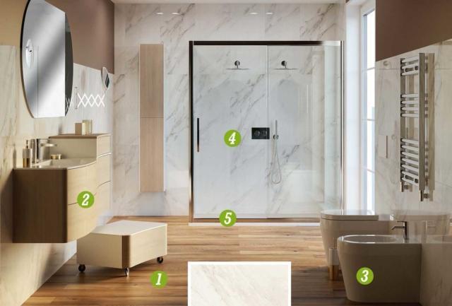 Bagno effetto marmo con i nuovi rivestimenti tante for Leroy merlin pavimenti gres effetto legno