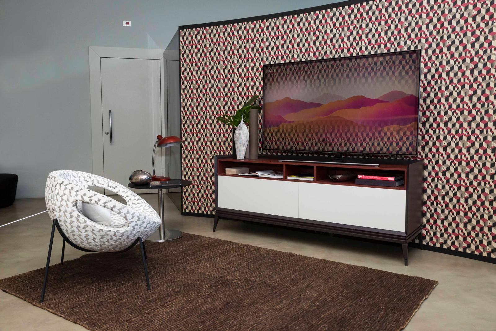 La tv... come la parete: il total look con la tappezzeria - Cose di Casa