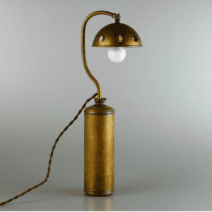 Brass Boul Light realizzata con antica boul dell'acqua calda in ottone e una lampada in ottone recuperata