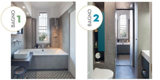 Ricavare due bagni da uno, con doccia passante. Progetto e foto