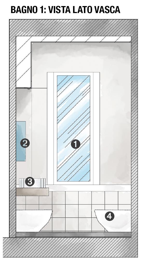 1. Finestra, 2. Specchio con bordo contenitore 3. Lavabo sul top 4. Bidet