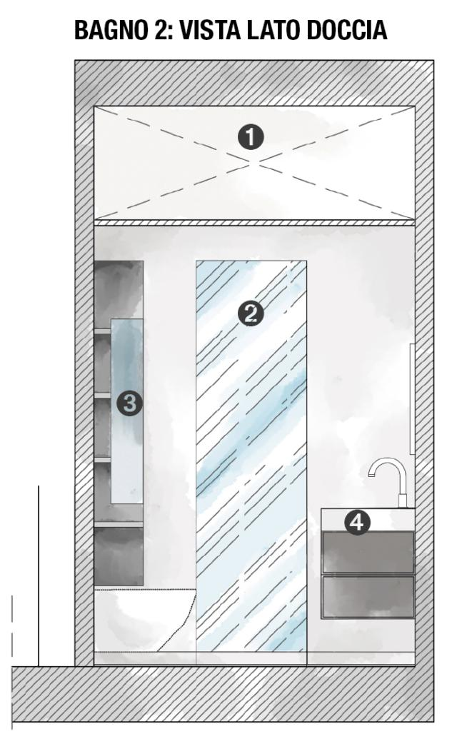 1. Retro del ripostiglio sospeso, 2. Porta doccia, 3. Anta laccata, 4. Lavabo con base sospesa