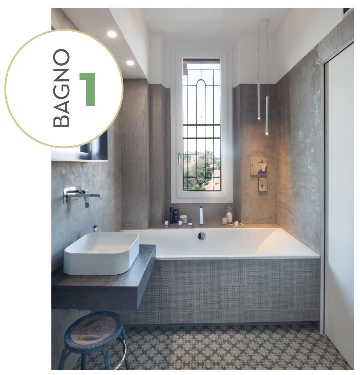 Ricavare due bagni da uno con doccia passante progetto e - Bagno di 4 mq ...