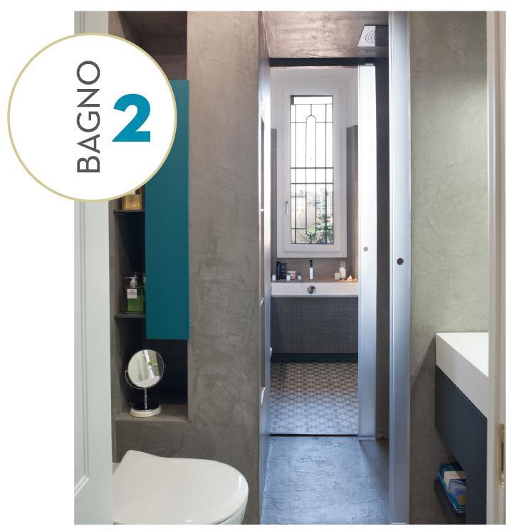 Ricavare due bagni da uno con doccia passante progetto e for Elementi bagno