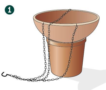 1. Appoggiate il cestino su un vaso di terracotta, quindi pesante e stabile per lavorare agevolmente quando mettete a dimora  le piante.