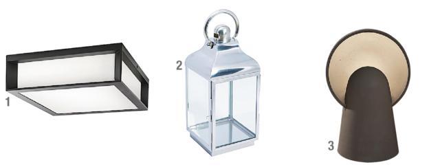 1. Applique di Philips (www.philips.it) è una lampada adatta all'esterno, da installare a parete o a soffitto. Costa 59,90 euro. 2. La lanterna SL-12 di Novità Home (www.novitahome.com) è in acciaio cromato e vetro. Costa 68,50 euro. 3. La lanterna SL-12 di Novità Home (www.novitahome.com) è in acciaio cromato e vetro. Costa 68,50 euro.